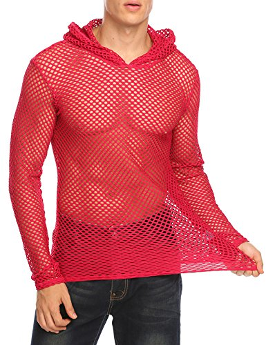 - COOFANDY Mens Sexy See Through Muscle T Shirt Fishnet Transparent Tee Shirt, Red, XX-Large