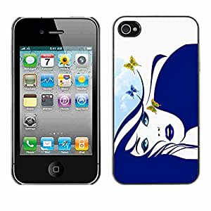 Shell-Star ( Blue Butterfly Girl ) Snap On Hard Protective Case For Apple iPhone 4 / 4S