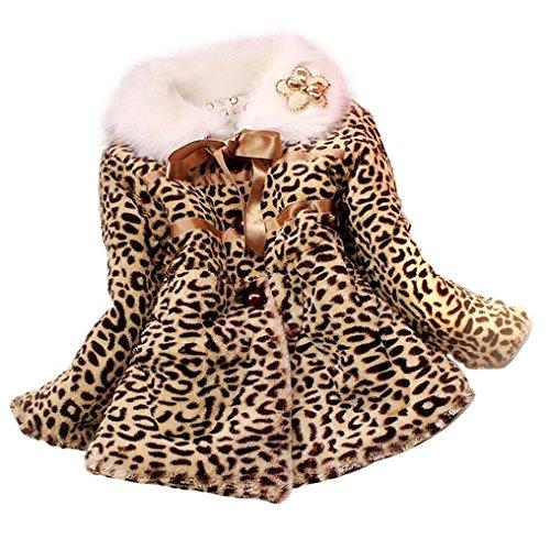 [Elevin(TM)Little Girls Cute Faux Fur Leopard Hoodies Coat Winter Warm Jacket Snowsuit (5-6Y,] (Pirate Makeup Female)