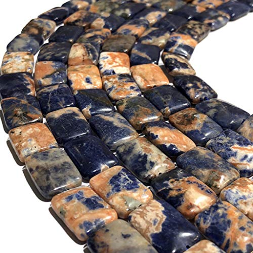 Rectangle Beads African Turquoise ([ABCgems] Rare African Orange Sodalite (Honey Calcite Inclusions) 10X14mm Smooth Rectangle Beads)