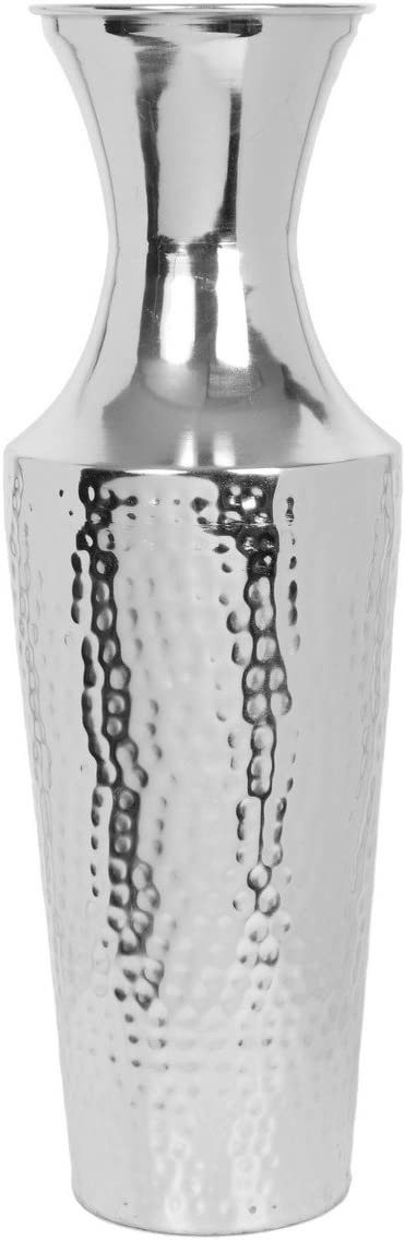 Hosley 18 Inch High Silver Color Metal Floor Vase. Ideal for Dried Flowers Gift for Wedding Home Spa Votive Candle Gardens P9