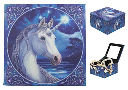 Ebros Moonlight Starfall The Sacred One Unicorn Jewelry Box With Mirror By Anne Stokes For Women Girls Trinket Secret Storage Compartment As Collection of Unicorns Purity Holy Creature Animal