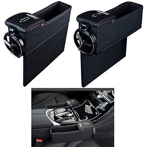 Threeking Premium Car Seat Storage Box Luxury Leather Gap Filler Multi-function Organizer with Water Cup Holder Coin Pocket Car Interior Accessories(1 Set, for Driver & Passenger's Seat) (Black) Accessories Threeking