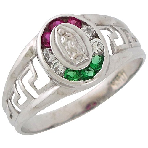 10k White Gold Simulated Ruby Emerald White CZ Accented Mexican Guadalupe Ring by Jewelry Liquidation