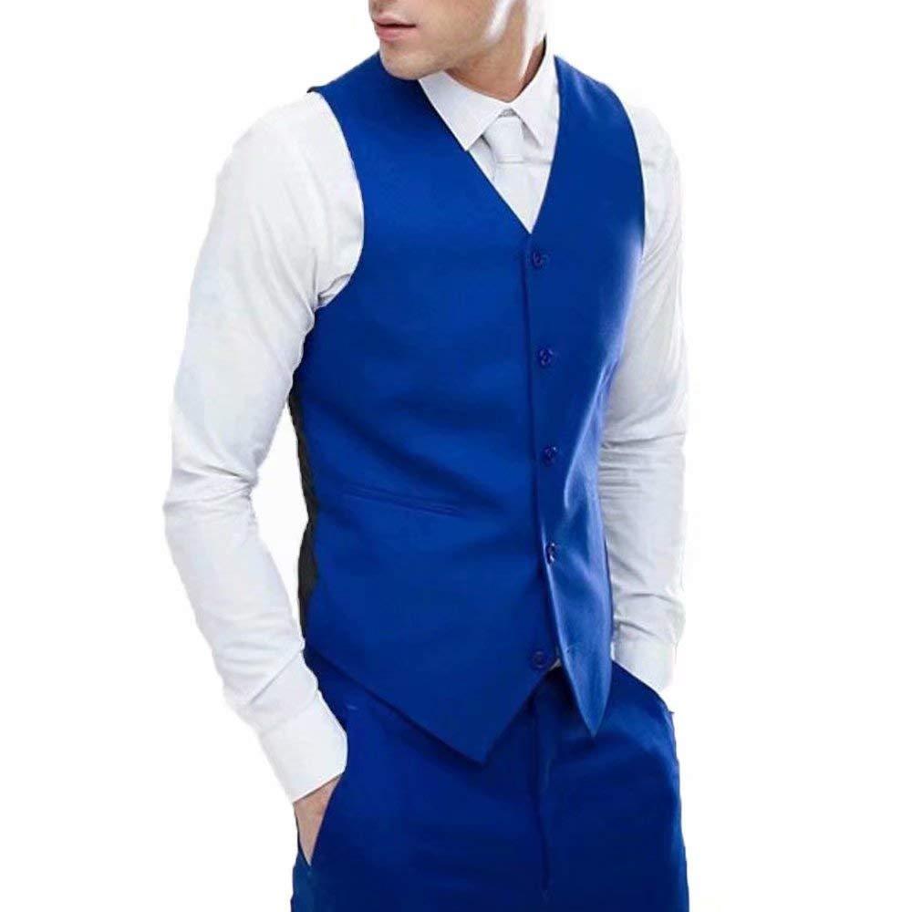 RONGKIM Mens Suit Dress Vest 2 Pockets Business Suit Vest Regular Fit Many Colors