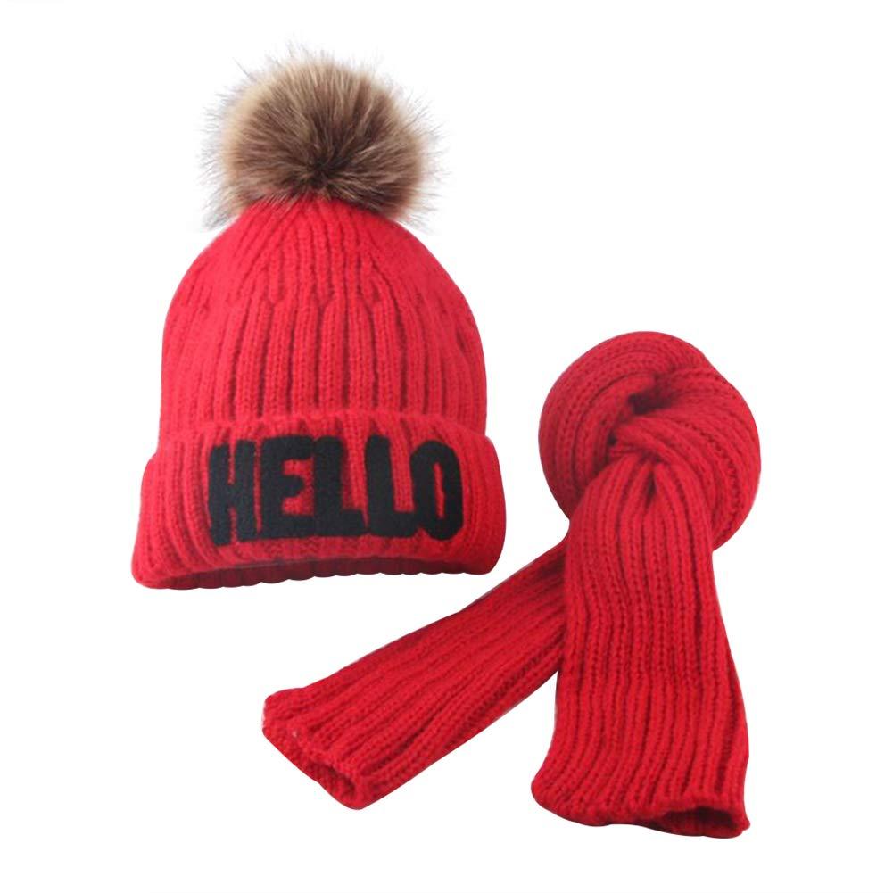 yanbirdfx ベビー 男の子 女の子 冬 暖かい 可愛い ハローレター ポンポン ニット ビーニー キャップ スカーフセット - ベージュ  レッド B07KF3PF2K