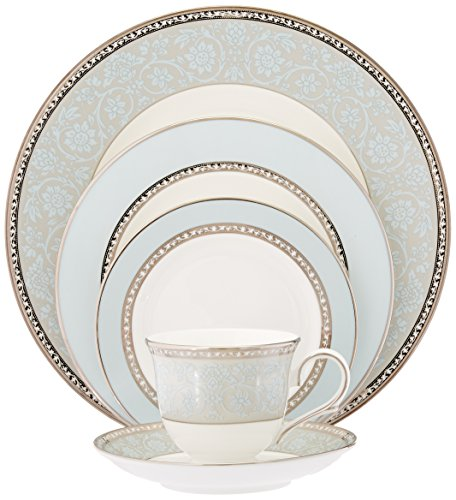 Lenox Westmore 5 Piece Place Setting - Crafted of Lenox bone china accented with 24 karat gold Polished platinum accents Dishwasher safe - kitchen-tabletop, kitchen-dining-room, dinnerware-sets - 51XcEhoUYgL -