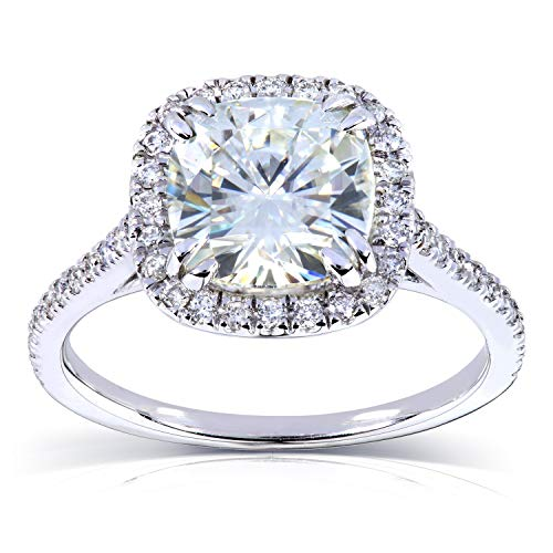 Forever One Cushion Moissanite and Diamond Engagement Ring 2 1/4 CTW in Platinum (Cushion Cut Halo Diamond Engagement Ring In Platinum)