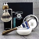 Set per la barba con pennello di tasso 'punta d'argento', rasoio Gillette Fusion, ciotola e sapone