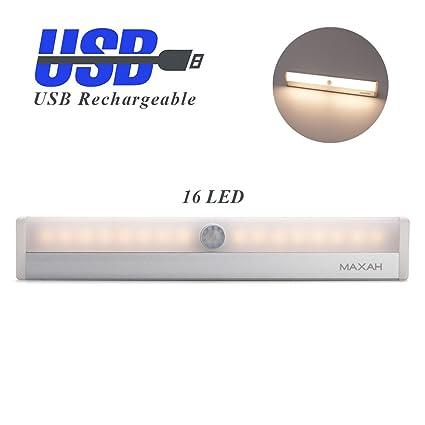 MAXAH Sensor de Luz PIR infrarrojas lámpara,con interruptores de luz y banda magnética,16 LEDs,Luces de Noche para el dormitorio,cajonera, ...