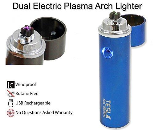 Tesla Coil Lighters™ 360° Dual Arc USB Rechargeable Windproof Electrical Plasma Arc Lighter - Choose Your Color (Blue)
