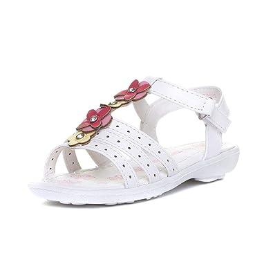 Girls Sandal Flat Sandal in White by Walkright