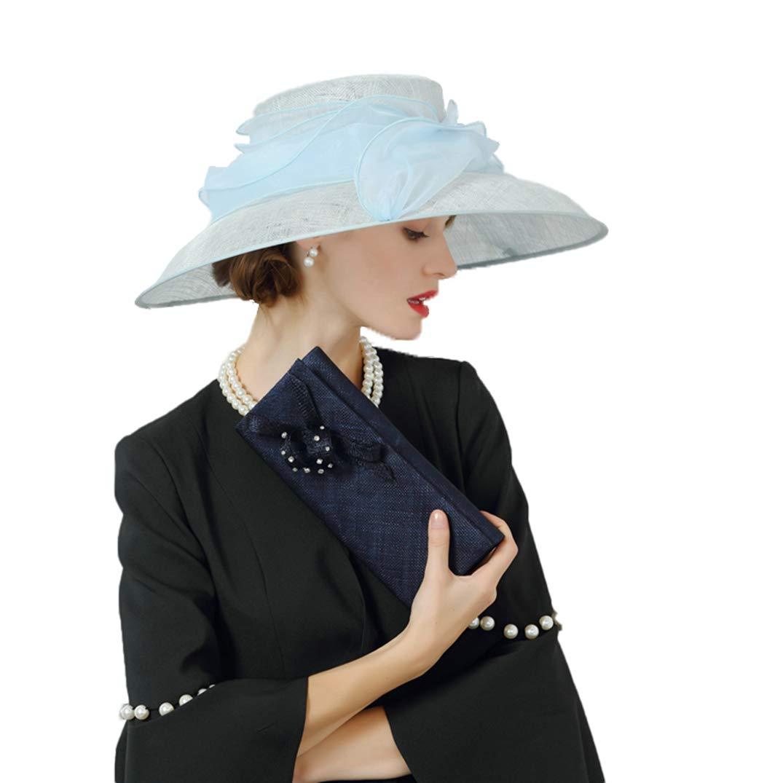 Women Fascinator British Style Summer Flowers Big Brim Kentucky Derby Banquet Dress Hat Blue