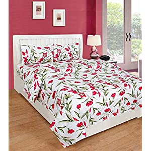 Home Stylish Home Premium  144 TC Cotton Double Bedsheet with 2 Pillow Covers Yellow Leaves