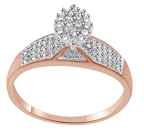 White Natural Diamond Accent Cluster Ring In 14k Rose Gold Over Sterling Silver Ring Size - 4.5 (Ring Cluster 14k)