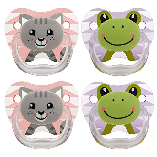 Dr. Browns Classic Pacifier, 0-6m, Animal Faces Pink/Purple, 4 Count