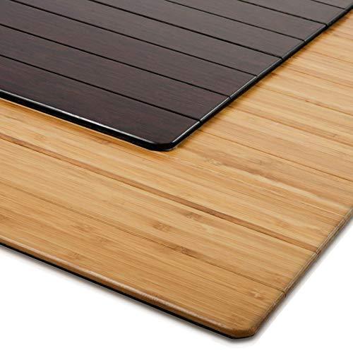Bodenschutzmatte Floordirekt ECO | aus natürlichem Bambus | Schutz für Teppich und Hartböden | verschiedene Größen | 90×120 cm Natur mit Lippe