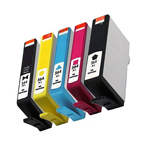 QINK 5 Pack (BK PBK C M Y) COMPATIBLE HIGH YIELD 564XL ink cartridge replacement FOR HP564XL use for HP PhotoSmart 7510 7520 7525 C6350 B8550 by QINK (Image #2)