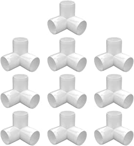 letsFix 3-Way 3/4 inch PVC Fitting, PVC Elbow Fittings PVC Pipe Connectors - Build Heavy Duty Furniture Grade for 3/4 inch PVC Pipe, White [Pack of 10]