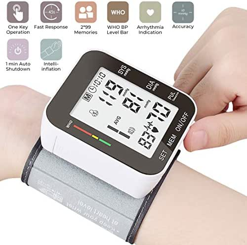 Automatic Wrist Blood Pressure Monitor Voice Broadcast High Blood Pressure Monitors Portable LCD Screen Irregular Heartbeat Monitor with Adjustable Cuff and Storage Case Powered by Battery - Black