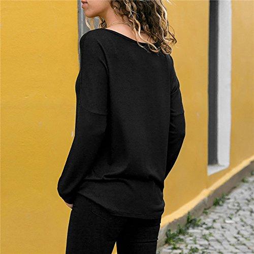 Longues Femme Manches Courtes Manches HOOUDO Top Noir 8wERXqS