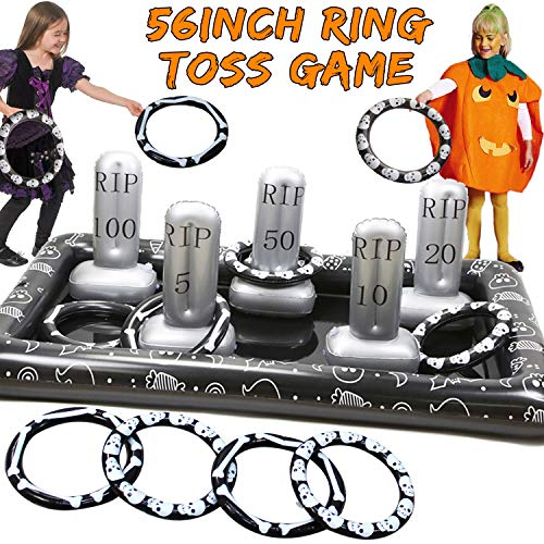 Childrens Halloween Party Games (Halloween Inflatable Ring Toss Game 56in Halloween Party Game for Kids & Adults Tombstone Shape Ring Toss Inflate Toss Indoor Outdoor Activity Creepy Spooky Game Kids Classroom Game)