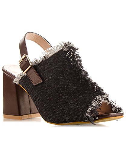 RF ROOM OF FASHION Peep Toe Slingback Denim Fringe Stacked Heel Mule Sandals Black (6) (Heel Denim Mule)