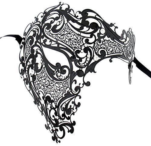 Luxury Mask Men's Signature Phantom of The Opera Half Face Mask Metal Black -