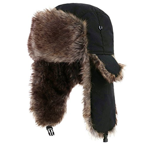 - Yesurprise Trapper Warm Russian Trooper Fur Earflap Winter Skiing Warm Hat Cap Women Men Unisex Windproof Army Black