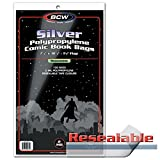 BCW Supplies Resealable Silver Comic Bags (100 Count Pack)