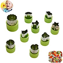 KuXun Vegetable Cutter Shapes Set of 9 Piece, Mini Cookie Cutters, Cool Car Train Plane Ship Shape Cutters for Kids Boys