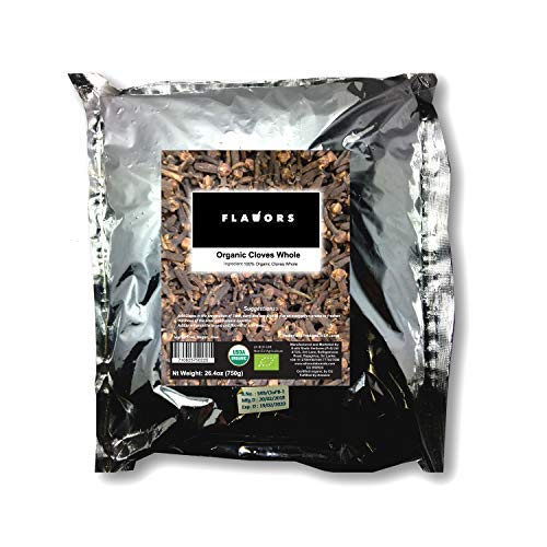 FLAVORS 100% Organic Premium Quality Cloves Whole - USDA Certified - 750grams Pouch!!!