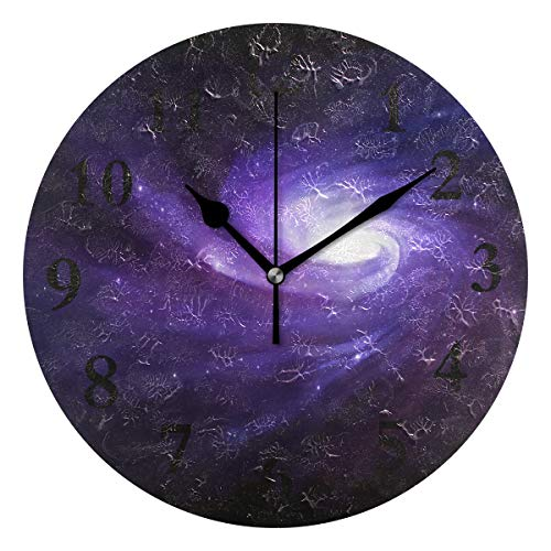 - FunnyCustom Round Wall Clock Super HD Galaxy Acrylic Creative Decorative for Living Room/Kitchen/Bedroom/Family