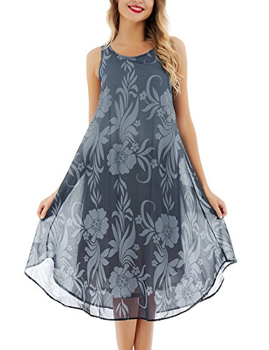Handmade Casual Wear Dress - Uniboutique Women's Sleeveless Tie Dye Floral Printed Summer Vacation Dress Black XL