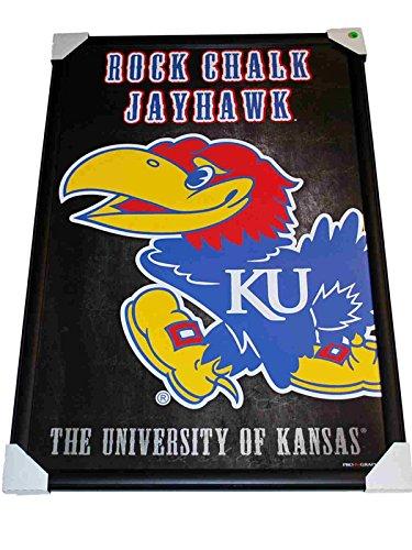 Kansas Jayhawks Rock Chalk Jayhawk Logo Prographs Framed Print 24
