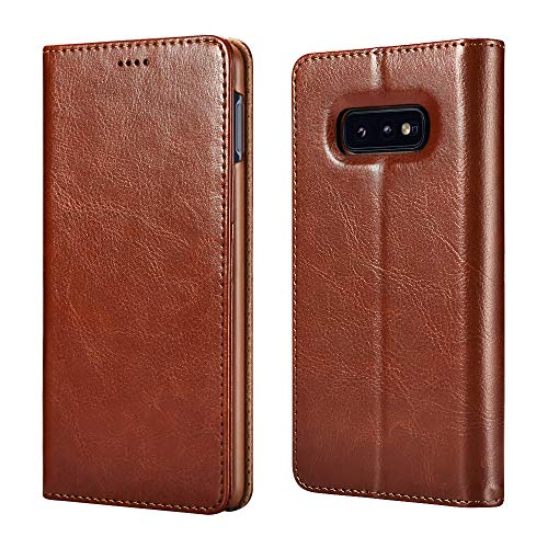 Samsung S10e Case, Galaxy S10e Leather case ICARERCASE Premium PU Leather Folio Flip Cover with Kickstand and Credit Slots for S10e Case 5.8 inch(Brown)