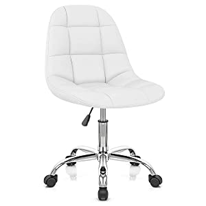 Finch Fox Height-Adjustable Faux-Leather Office Chair for Salon/Spa/Bar/Medical/Kitchen/Doctor Stool Chair (White)
