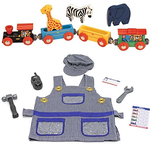 [Wooden Toy Train Set Bundle with Melissa and Doug Train Engineer Dress Up Costume (2 Set Items)] (Toddler Conductor Outfit)