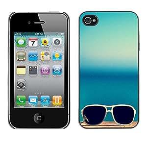 Cubierta de la caja de protección la piel dura para el Apple iPhone 4 / 4S - sunglasses glasses teal blue summer sun