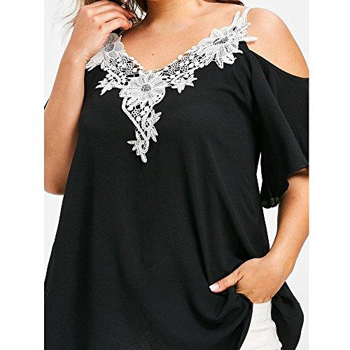 shirt Chiffon Forti Estate Lady T Camicetta Tops Nuda Manica Giacca Elegante Nero Pizzo Corta Tunica Spalla Weant Donna Cime Blusa Maglietta Sciolto Camicie Donne Casual Taglie 75nqxSwFwv