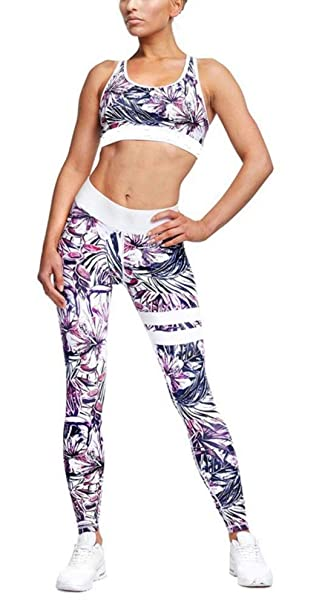 Aibayleef Mujer Fitness Pantalones Conjuntos de Yoga Tops + Leggins  Impresión Gym Fitness Set 2 Piezas Ropa Deportiva Vestimenta Elástico  Transpirable  ... a8142f1a34d78