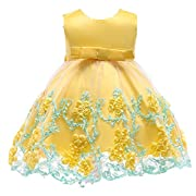 Berngi Baby Kids Birthday Princess Party Dress for Toddler Girls Flower Children Bridesmaid Elegant Dresses Clothes (Yellow, 0-6Monthes)