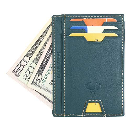 Real Leather Credit Card Holder - Ultra Thin Design - Vertical Front Pocket Wallet - RFID - Mini Wallet Ultra