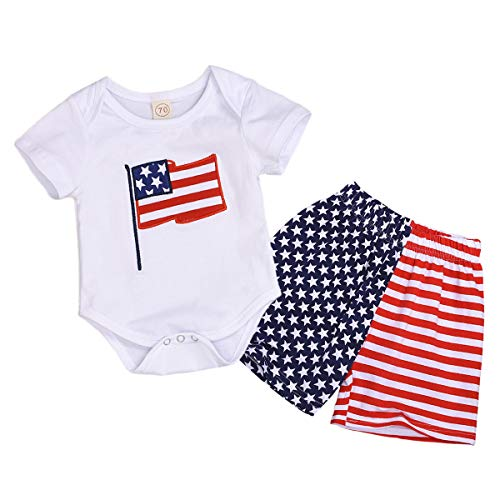 2Pcs Baby Boy 4th T-Shirt Top with American Flag Short Pants Summer Outfits (3-6 Months, 01-Bodysuit) ()