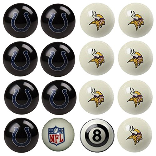 NFL Minnesota Vikings vs Indianapolis Colts Pool Ball Billiard Set by Imperial