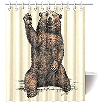 InterestPrint Funny Animal Home Decor Bear Say Hello Polyester Fabric Shower Curtain Bathroom Sets 60