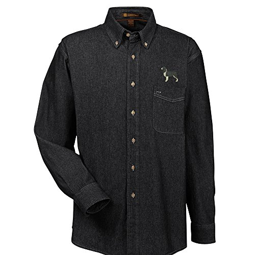 YourBreed Clothing Company Springer Spaniel Black Embroidered Men's 100% Cotton Denim Shirt