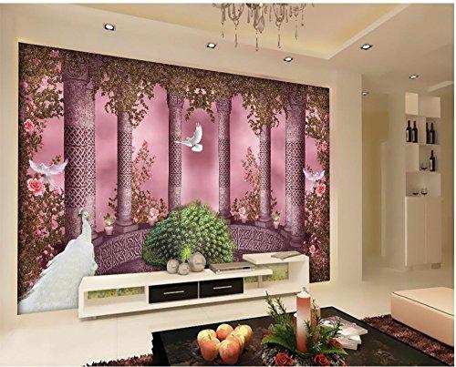 Wapel Custom 3D Mural Wallpaper European Style Roman Arches Column Peacock 3D Wallpaper Modern For Living Room Murals Silk cloth 350x250CM