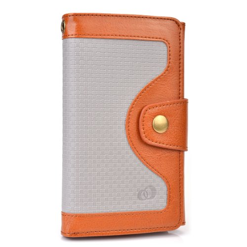 Kroo Universal BiFold Wallet with Snap Button Strap for 5.5-Inch Smart Phones - Non-Retail Packaging - Brown