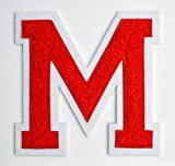 Varsity Letter Patches - Red Embroidered Chenille Letterman Patch - 4 1/2 inch Iron-On Letter Initials (Red, Letter M Patch)